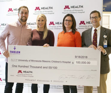 Thielen Foundation presenting its $100,000 check to the University of Minnesota Masonic Children's Hospital